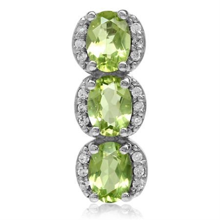 2.64ct. 3-Stone Natural Oval Shape Peridot White Gold Plated 925 Sterling Silver Pendant