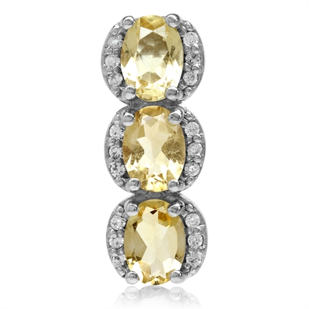 2.22ct. 3-Stone Natural Oval Shape Citrine White Gold Plated 925 Sterling Silver Pendant