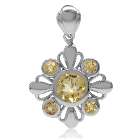 1.65ct. Natural Round Shape Citrine White Gold Plated 925 Sterling Silver Flower Pendant