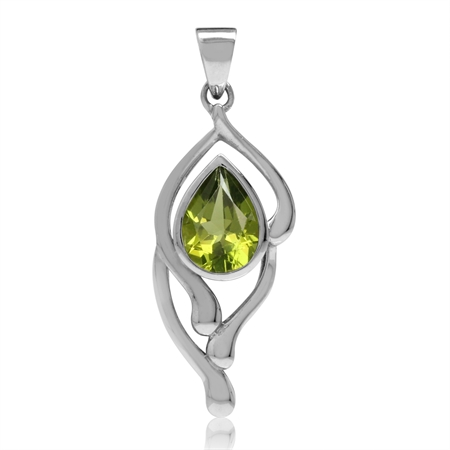 Natural Pear Shape Peridot White Gold Plated 925 Sterling Silver Drop Solitaire Pendant