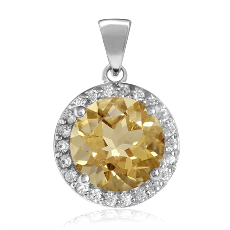 2.43ct. 9MM Natural Round Shape Citrine White Gold Plated 925 Sterling Silver Halo Pendant
