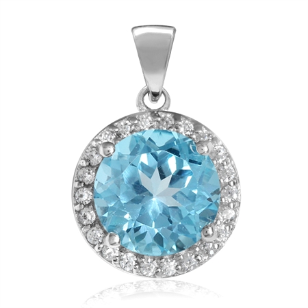 3.36ct. 9MM Genuine Round Shape Swiss Blue Topaz White Gold Plated 925 Sterling Silver Halo Pendant