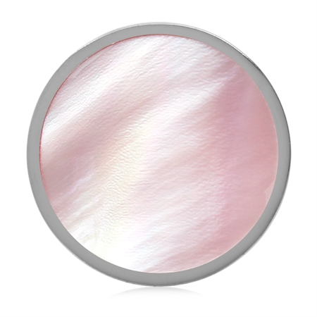 17MM Pink Mother Of Pearl 925 Sterling Silver Floating Slide Circle Modern Style Pendant