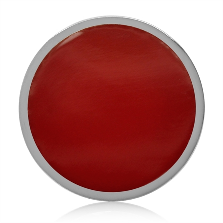 17MM Created Red Coral 925 Sterling Silver Floating Slide Circle Modern Style Pendant