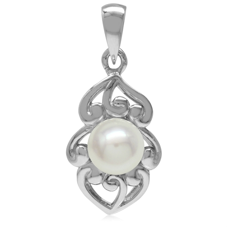 6MM Cultured Freshwater Pearl White Gold Plated 925 Sterling Silver Filigree Pendant