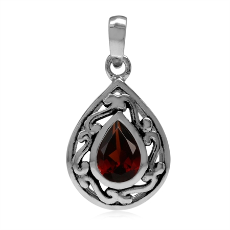 7x5MM Natural Pear Shape Garnet 925 Sterling Silver Filigree Drop Solitaire Pendant