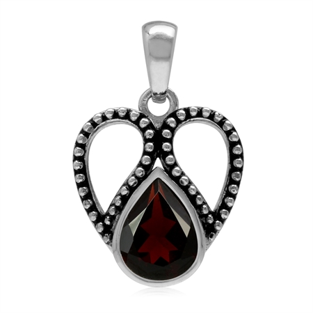 1.69ct. 9x7MM Natural Pear Shape Garnet 925 Sterling Silver Bali/Balinese Style Pendant