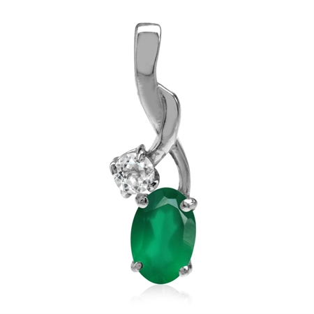 Natural Emerald Green Agate & White CZ Gold Plated 925 Sterling Silver Classic Pendant FREE Gift