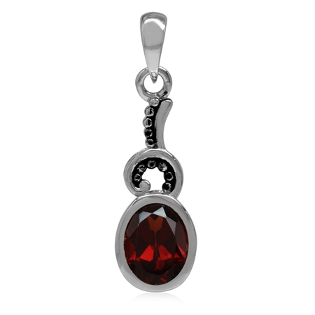 1.46ct. 8x6MM Natural Oval Shape Garnet 925 Sterling Silver Bali/Balinese Style Pendant