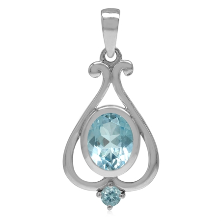 2.27ct. 9x7MM Genuine Oval Shape Blue Topaz 925 Sterling Silver Heart Victorian Style Pendant