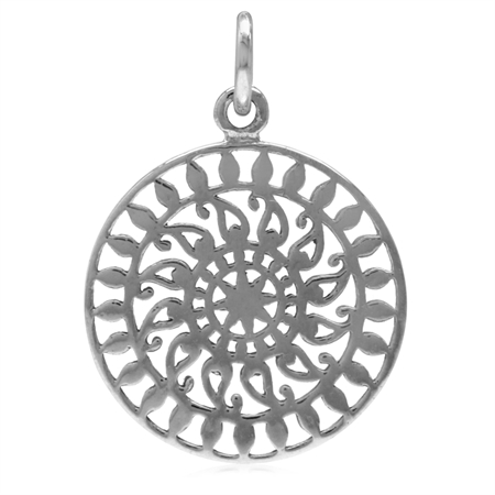 18MM Filigree Sun Inspired Circle White Gold Plated 925 Sterling Silver Pendant