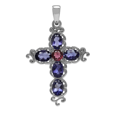 1.8ct. Natural Iolite&Rhodolite Garnet White Gold Plated 925 Sterling Silver Victorian Cross Pendant
