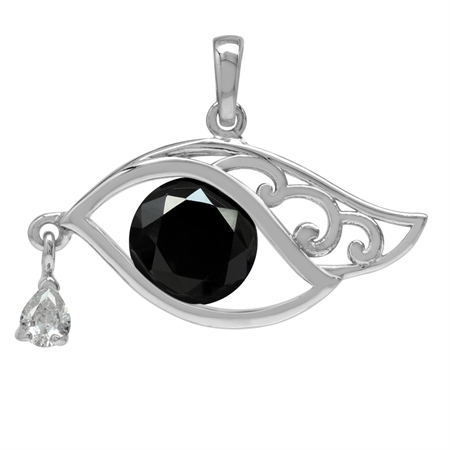 10MM Black & White CZ 925 Sterling Silver Filigree Eye of Horus Inspired Pendant