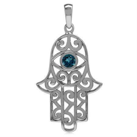 Genuine London Blue Topaz 925 Sterling Silver Evil Eye On Hamsa Hand Pendant