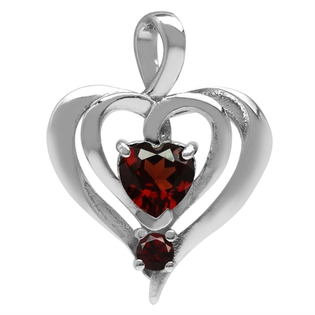 Natural Garnet White Gold Plated 925 Sterling Silver Modern Style Heart Pendant