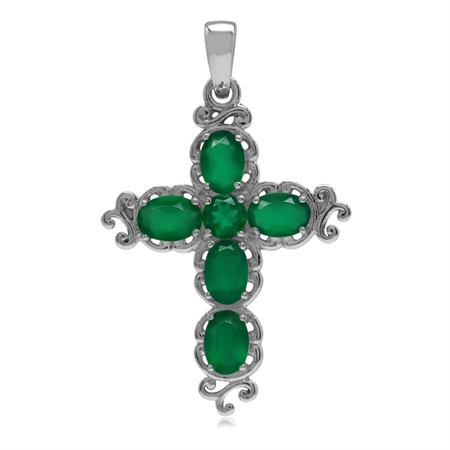 2.34ct. Natural Emerald Green Agate White Gold Plated 925 Sterling Silver Victorian Cross Pendant