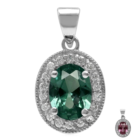 8x6MM Oval Shape Simulated Color Change Alexandrite 925 Sterling Silver Halo Pendant