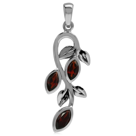 1.14ct. Natural Marquise Shape Garnet 925 Sterling Silver Leaf Vintage Inspired Pendant