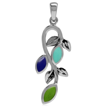 Created Green Gaspeite, Lapis & Turquoise 925 Sterling Silver Leaf Vintage Inspired Pendant