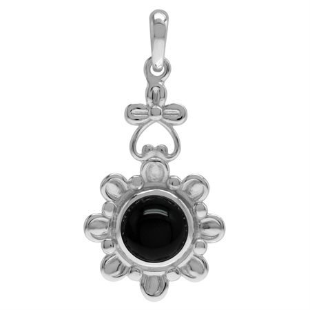 8MM Genuine Round Shape Black Onyx 925 Sterling Silver Flower Solitaire Pendant