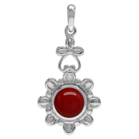 8MM Created Round Shape Red Coral 925 Sterling Silver Flower Solitaire Pendant