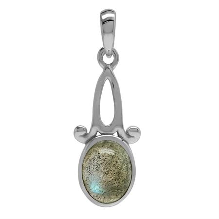 Genuine Labradorite 925 Sterling Silver Victorian Inspired Solitaire Pendant