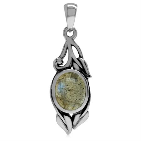 Genuine Labradorite 925 Sterling Silver Vintage Inspired Leaf Pendant