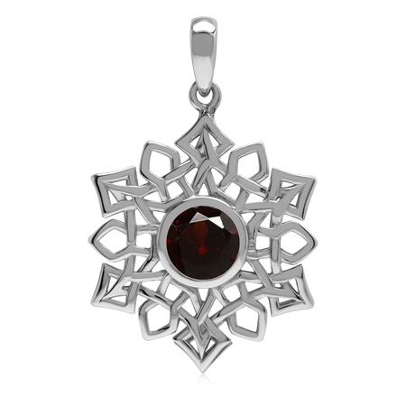 1.5 CT Natural Garnet 925 Sterling Silver Celtic Knot Weave Snowflake Pendant
