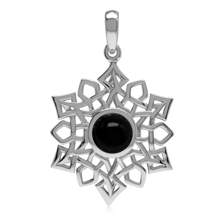 1.4 CT Natural Black Onyx 925 Sterling Silver Celtic Knot Weave Snowflake Pendant