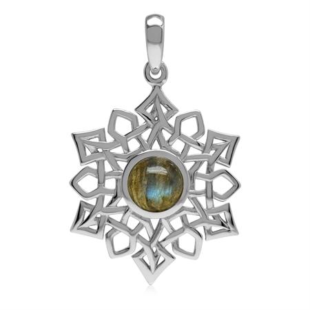 1.5 CT Natural Labradorite 925 Sterling Silver Celtic Knot Weave Snowflake Pendant