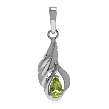 Petite Natural Green Peridot 925 Sterling Silver Leaf Vine Inspired Solitaire Pendant