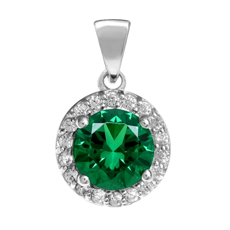 7MM Nano Green Emerald White Gold Plated 925 Sterling Silver Halo Pendant