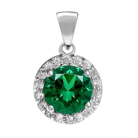 7MM Nano Green Emerald White Gold Plated 925 Sterling Silver Halo Pendant
