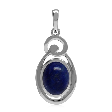 Natural 10x8 mm Blue Lapis Lazuli Stone 925 Sterling Silver Chakra Swirl Pendant