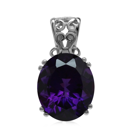 Genuine 4.5 Ct 12x10 mm Rich Purple African Amethyst 925 Sterling Silver Filigree Solitaire Pendant