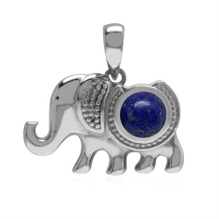 Natural 1.2 Ctw Blue Lapis Lazuli 925 Sterling Silver Elephant Charm Pendant