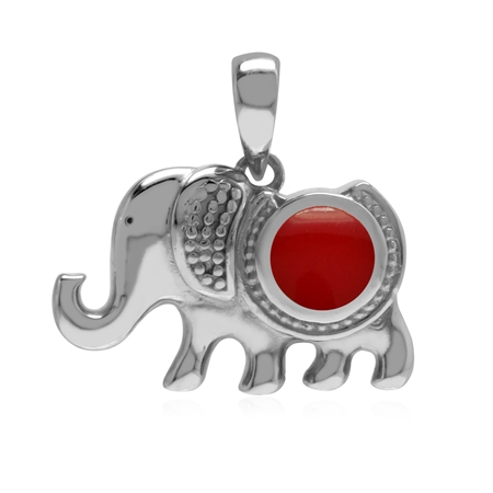 Created Inlay Red Coral 925 Sterling Silver Elephant Charm Pendant