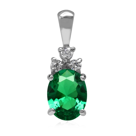 Created Nano Green Emerald 925 Sterling Silver Pendant May Birthstone Jewelry