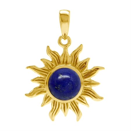 Genuine Lapis Lazuli Stone Yellow Gold Plated 925 Sterling Silver Sun Ray Inspired Solitaire Pendant