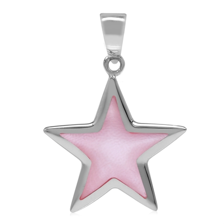 Pink Mother of Pearl Inlay White Gold Plated 925 Sterling Silver Star Pendant