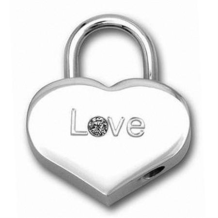 White CZ Stainless Steel Love HEART LOCK Pendant