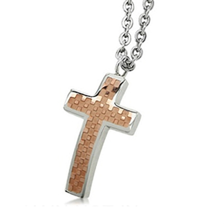 2-Tone Copper PVD Stainless Steel Cross Pendant