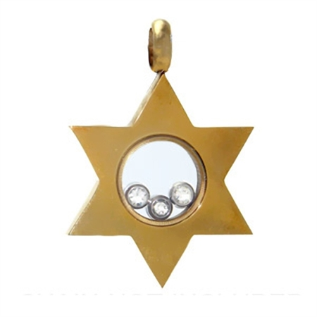 Gold Tone Stainless Steel & Crystal Star Pendant