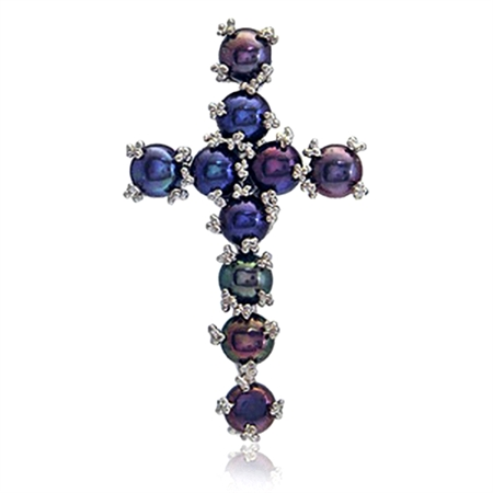 Cultured Black Pearl Sterling Silver Designer Cross Brooch Pendant