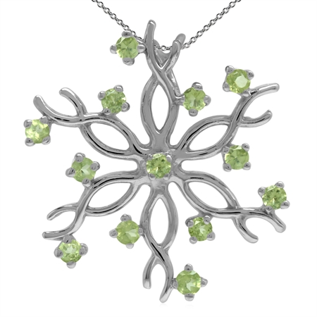 Natural Peridot 925 Sterling Silver Snowflake Pendant w/ 18 Inch Chain Necklace