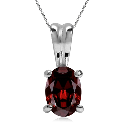 1.01ct. Natural Garnet 925 Sterling Silver Solitaire Pendant w/ 18 Inch Chain Necklace