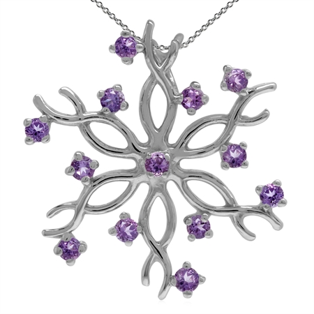 Natural Amethyst 925 Sterling Silver Snowflake Pendant w/ 18 Inch Chain Necklace