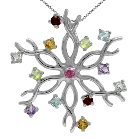 Natural Multi Colored 925 Sterling Silver Snowflake Pendant w/ 18 Inch Chain Necklace