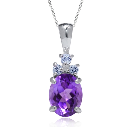 1.73ct. Natural African Amethyst & Tanzanite 925 Sterling Silver Pendant w/ 18 Inch Chain Necklace