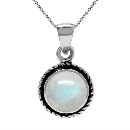 Natural Moonstone 925 Sterling Silver Rope Solitaire Pendant w/ 18 Inch Chain Necklace